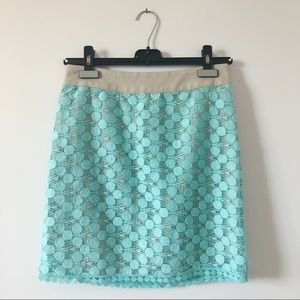 3/20$ Kenzie - turquoise laced mini skirt w/zip